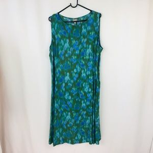 J. Jill Watercolor Blue Green Shift Dress  Size 20
